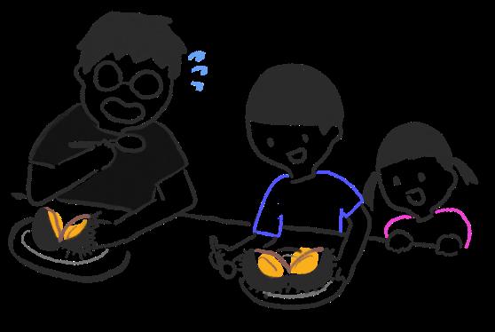 ウニを食べる人たちのイラスト